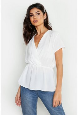 Womens Ivory Wrap Short Sleeve Peplum