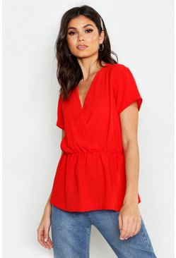 Dam Red Wrap Short Sleeve Peplum
