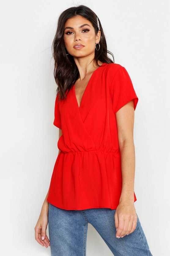 Womens Red Wrap Short Sleeve Peplum