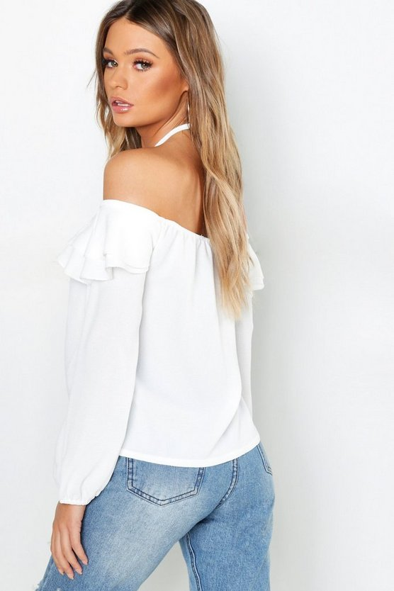 Ruffle Cold Shoulder Woven Top