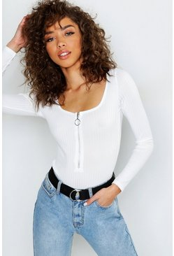 Womens White Zip Front Jumbo Rib Square Neck Bodysuit