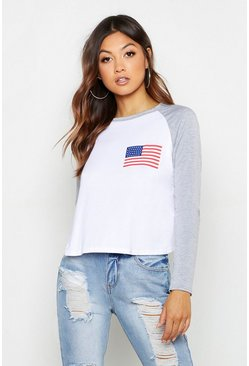 Womens Grey marl American Flag Raglan Printed T-Shirt