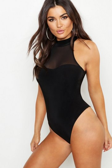 Womens Black Mesh Sweet Heart High Neck Bodysuit