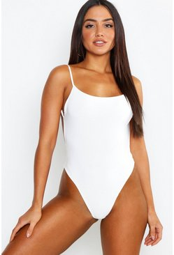 White Premium Slinky Double Layer Backless Bodysuit