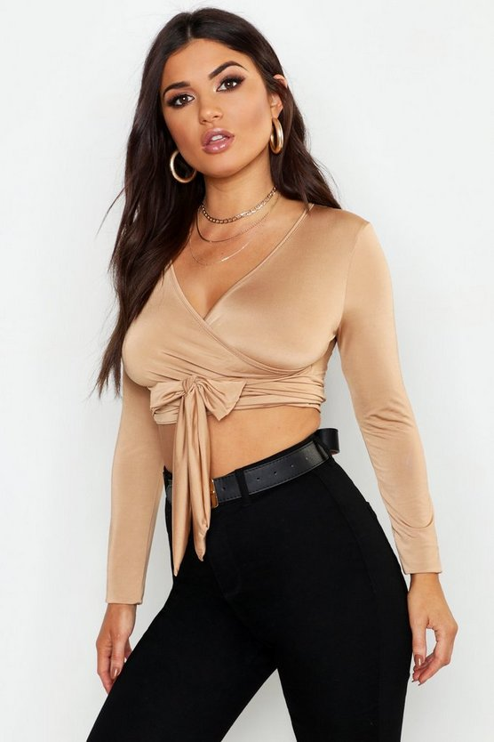Tie Wrap Slinky Long Sleeve Crop Top