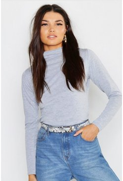 Womens Grey marl Basic Funnel Neck Long Sleeve Top
