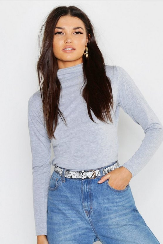 Basic Funnel Neck Long Sleeve Top