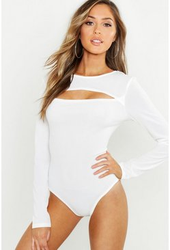 Womens White Basic Rib Keyhole Detail Bodysuit