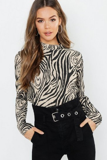 Womens Stone Zebra Plisse High Neck Top