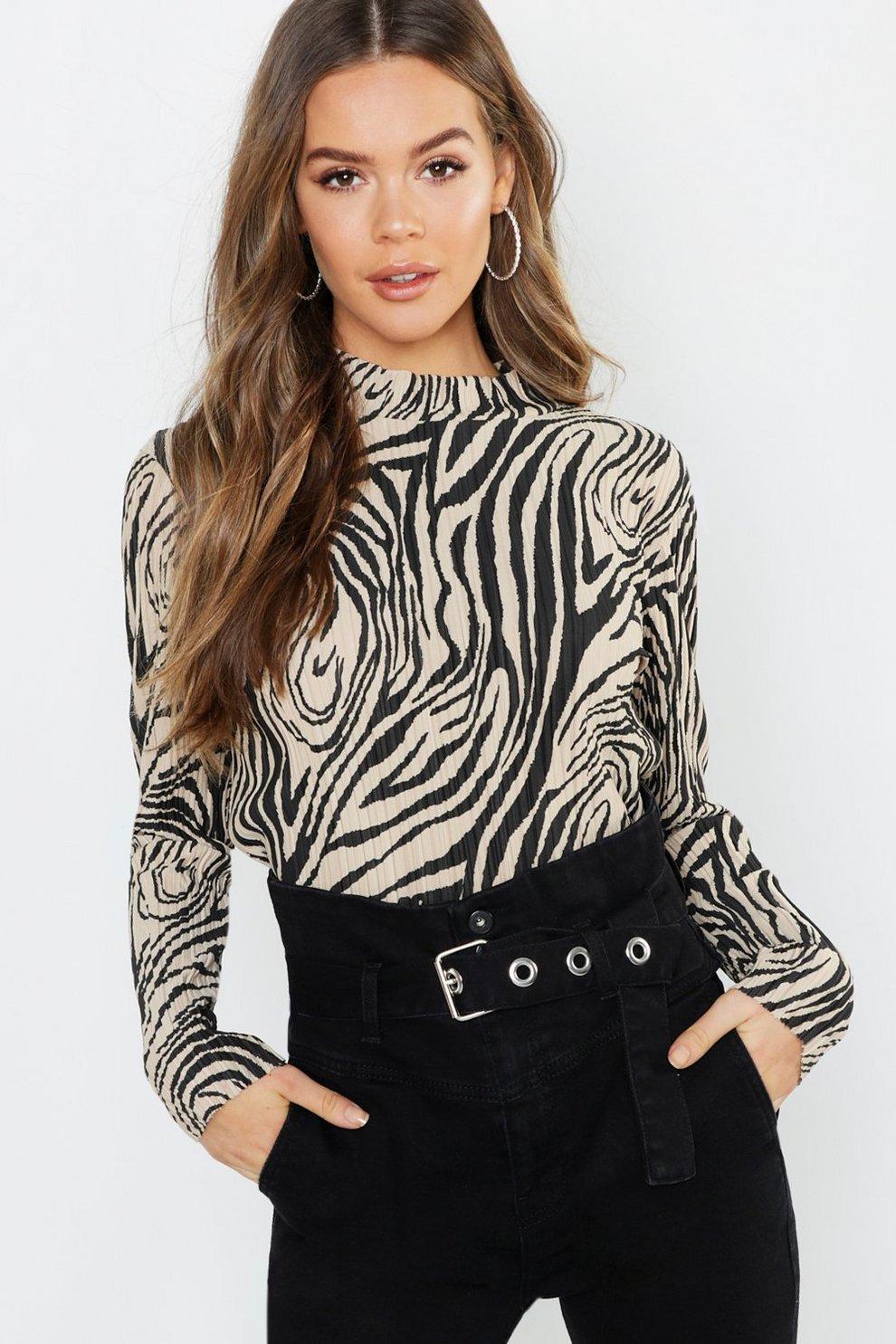 2913d5bf2b Zebra Plisse High Neck Top | Boohoo
