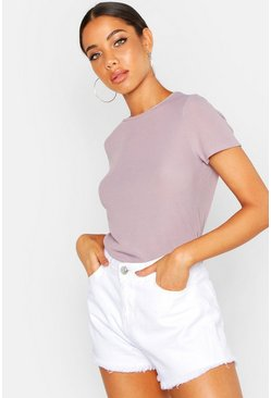 Womens Grey Rib Crew Neck Basic T-Shirt