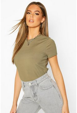 T-shirt basic girocollo a coste, Khaki