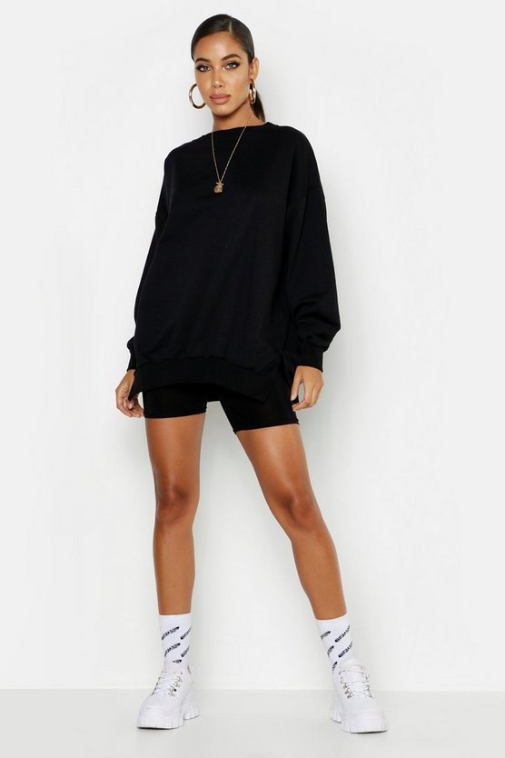 Black Gathered Hem Oversized Basic Sweat Shirt