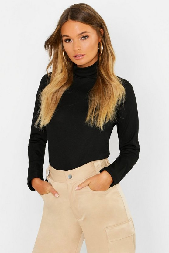 Basic Loose Fit Turtle Neck Rib T-Shirt