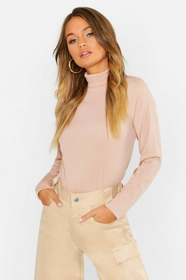 Womens Stone Basic Loose Fit Turtle Neck Rib T-Shirt