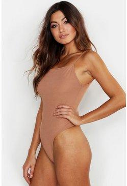 Camel Basic Rib Dip Side Square Neck Bodysuit