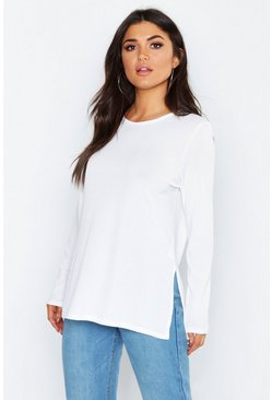 Womens White Basic Rib Long Sleeve Split Side Top