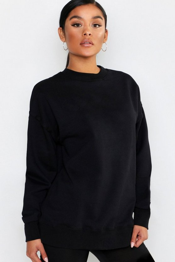 Black Basic Oversized Raw Seam Detail Sweat Shirt