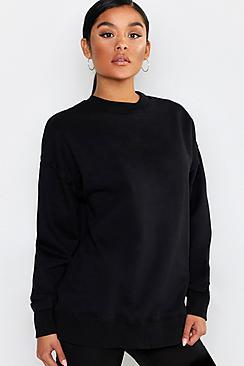 Basic Oversized Raw Seam Detail Sweat Shirt