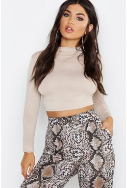 Womens Stone Basic Funnel Neck Long Sleeve Crop Top