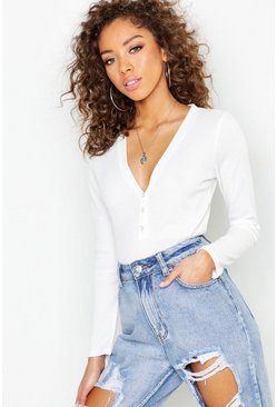 Womens White Basic Rib long Sleeve Button Detail Top