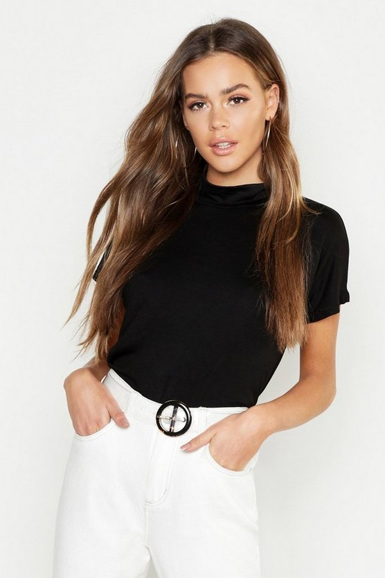 Womens Black Basic High Neck Cap Sleeve T-Shirt
