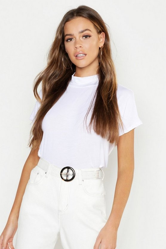 Basic High Neck Cap Sleeve T-Shirt