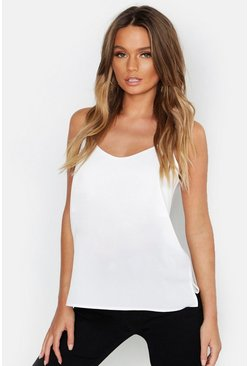Womens Ivory Woven Cami