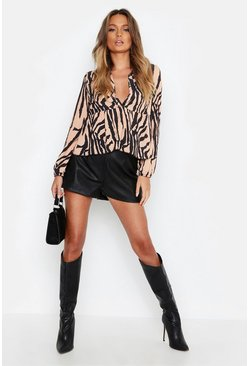 Womens Brown Zebra Print Plunge Woven Smock Top