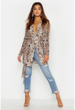 Womens Brown Snake Print Belted Kimono
