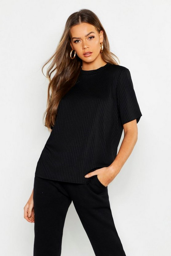 Womens Black Jumbo Rib Oversized T-Shirt