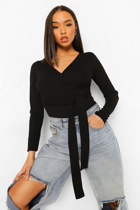 Rib Wrap Front Bodysuit by Boohoo
