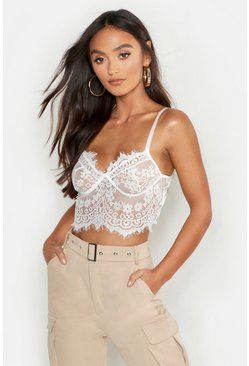 Womens White Premium Lace Cupped Bralet