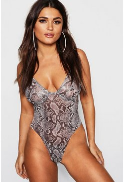 Womens Grey Snake Mesh Cupped Bodysuit