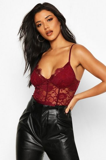Berry Premium Eyelash Lace Panelled Bodysuit