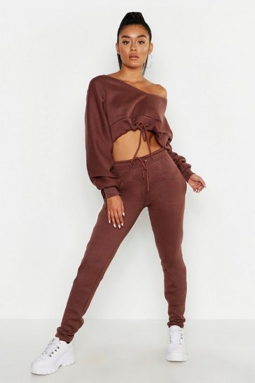 Womens Taupe Off The Shoulder Gathered Hem Sweats & Jogger Set