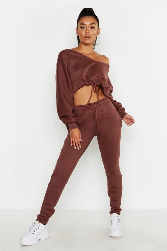 Off The Shoulder Gathered Hem Sweats & Jogger Set