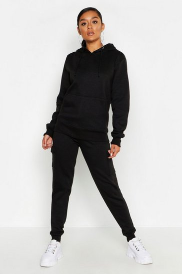 Womens Black Cargo Pocket Detail Jog Set