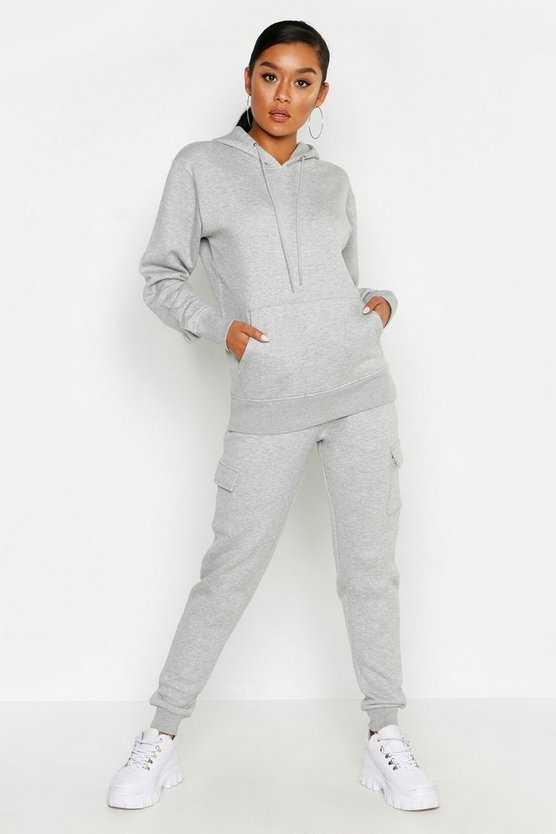 Womens Grey Cargo Pocket Detail Jog Set