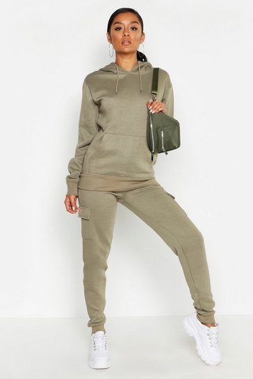 Womens Khaki Cargo Pocket Detail Jog Set