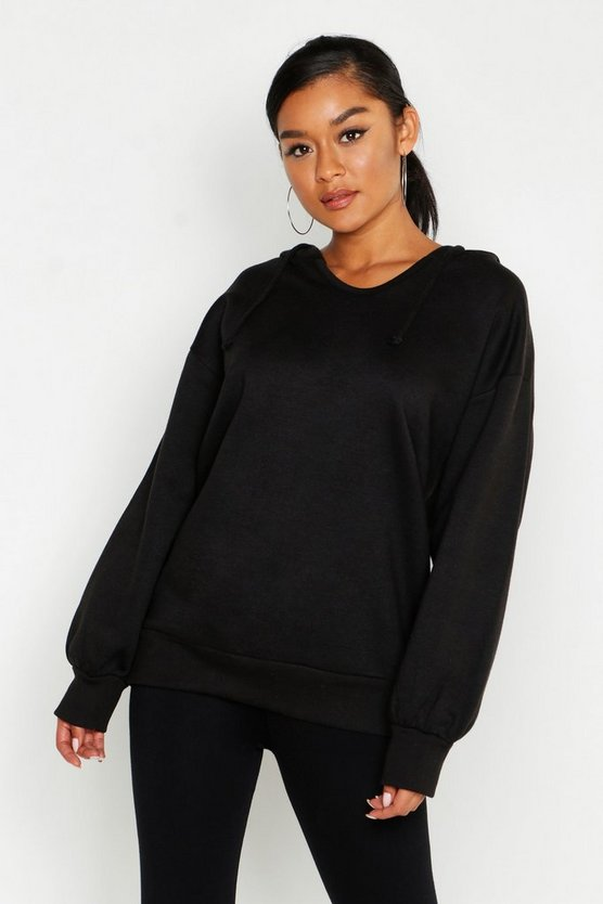 Womens Black Oversized Balloon Sleeve Sweat