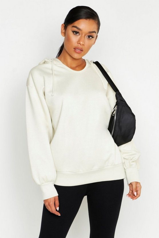 Womens Ecru Oversized Balloon Sleeve Sweat