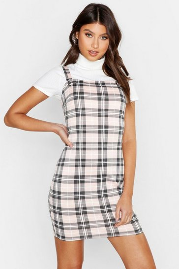 Womens Beige Check Pinafore Dress