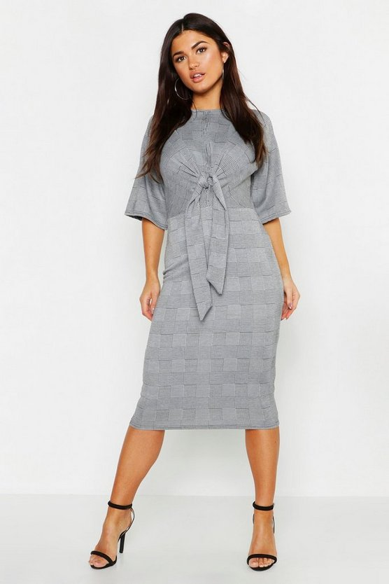 Check Twist Front Keyhole Midi Dress