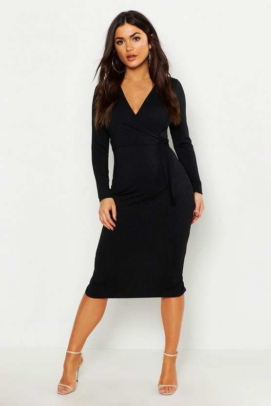 Womens Black Rib Wrap Tie Midi Dress