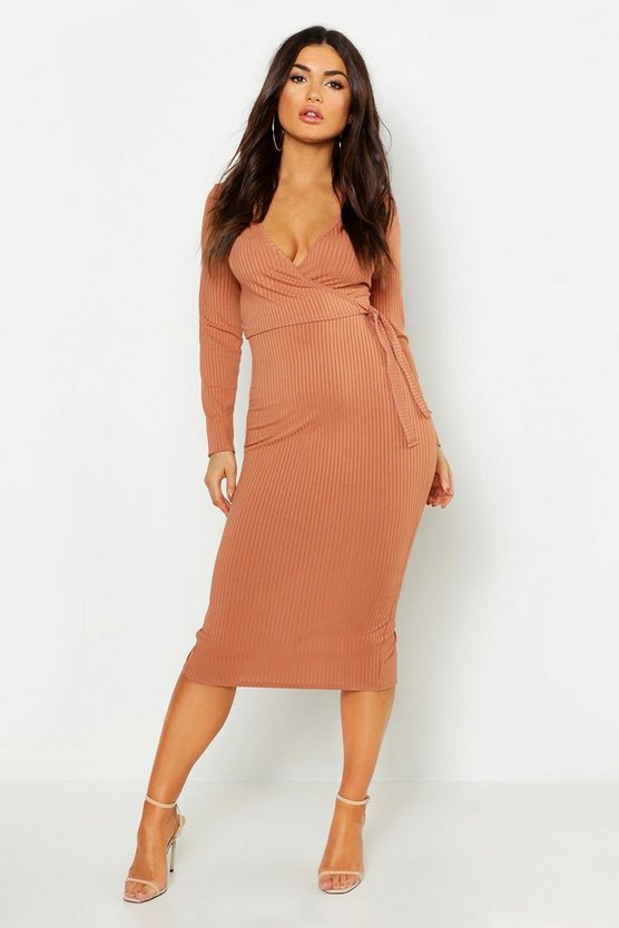 Rib Wrap Tie Midi Dress