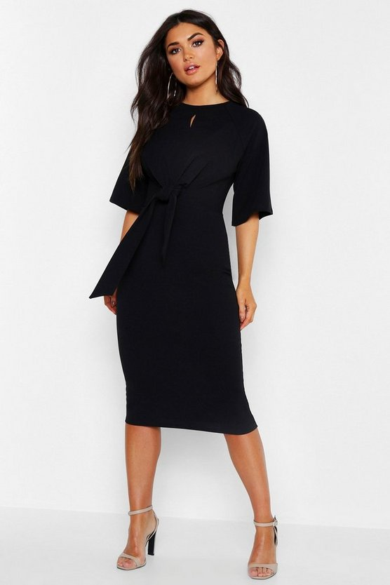 Womens Black Knot Front Detail Wrap Midi Dress