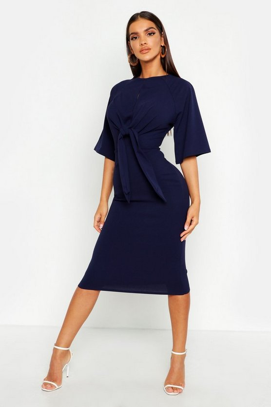 Womens Navy Knot Front Detail Wrap Midi Dress