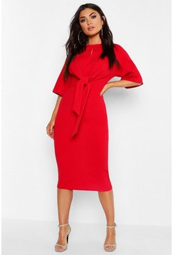 Red Knot Front Detail Wrap Midi Dress