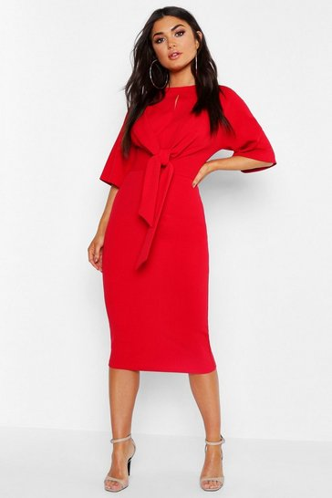Womens Red Knot Front Detail Wrap Midi Dress